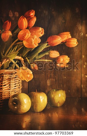 Spring tulips and with old vintage feeling