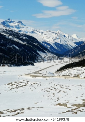 Spring view of canadian rocky mountains and columbia icefield in asper national park, alberta, canada - stock photo