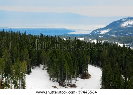 Spring view of mountain washington in vancouver island, british columbia, canada - stock photo