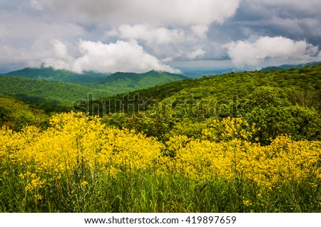 Spring view of the Appalachians from Skyline Drive in Shenandoah National Park, Virginia - stock photo