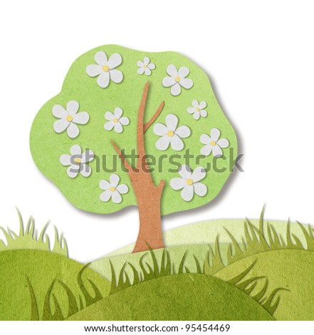 spring view recycled paper - stock photo