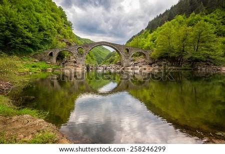 Spring view with The Devil's Bridge, Bulgaria - stock photo