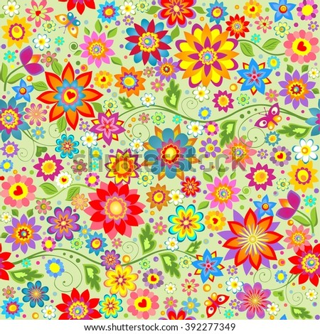 Spring wallpaper with colorful abstract funny flowers