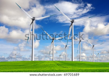 Spring windmill landscape