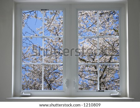 spring window - stock photo
