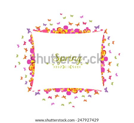 spring with flower and butterfly colorful banner - stock photo