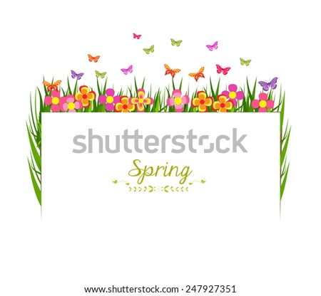spring with grass and butterfly banner - stock photo