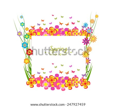 spring with grass and butterfly colorful banner - stock photo
