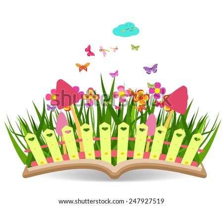 Spring with grass and flowering in the book - stock photo