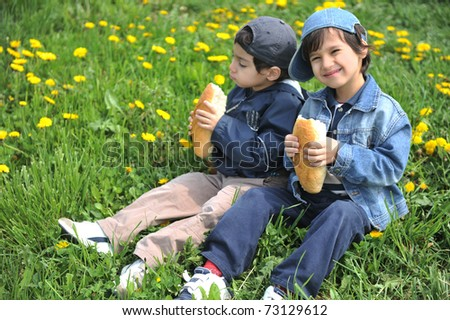 spring with kids - stock photo