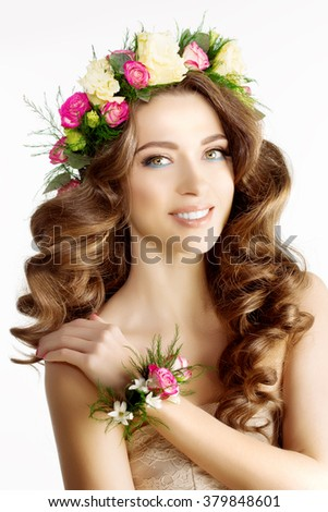 Spring woman Young  Girl flowers Beautiful model wreath bracelet Bride bridesmaid makeup spa Lady make up Products Treatment - stock photo