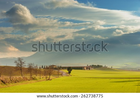 Spring wonderful landscape, green fields, sunrise and sunset, fields and trees. - stock photo