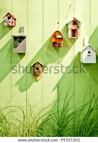 spring wooden wall - stock photo