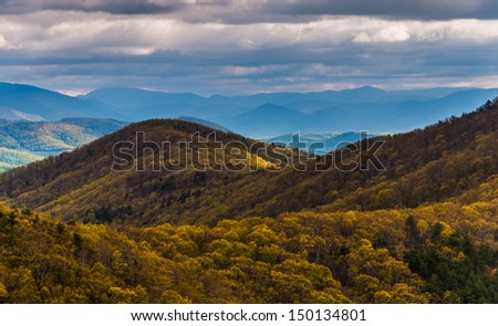 Spring yellows in the Blue Ridge Mountains, seen from Skyline Drive in Shenandoah National Park, Virginia. - stock photo