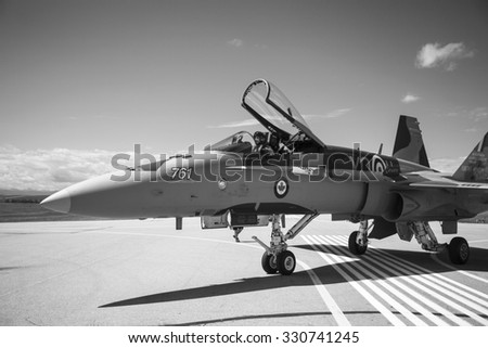 SPRINGBANK CANADA 20 JUL 2015:F-18 International Air Show and Open House for Canadian, USA and British current and historical military and civilian aircrafts. There were also numerous flights as well. - stock photo