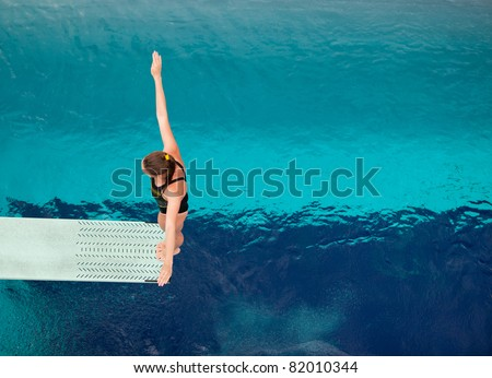 Springboard diver - stock photo