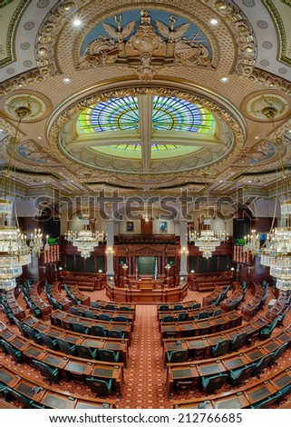 SPRINGFIELD, ILLINOIS - AUGUST 11: Newly renovated House of Representatives chamber in the Illinois State Capitol building on August 11, 2014 in Springfield, Illinois  - stock photo