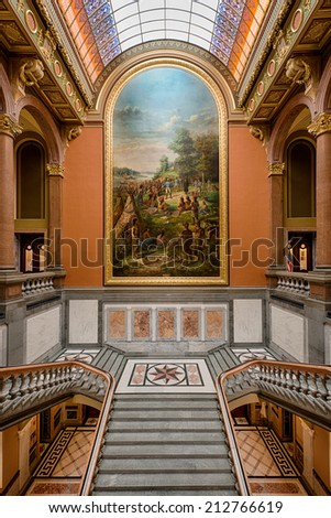 SPRINGFIELD, ILLINOIS - AUGUST 11: Painting over the Grand Staircase at the Capitol building on August 11, 2014 in Springfield, Illinois - stock photo
