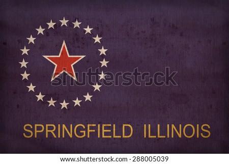 Springfield ,Illinois flag on fabric texture,retro vintage style - stock photo