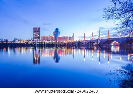 springfield massachusetts city skyline early morning - stock photo
