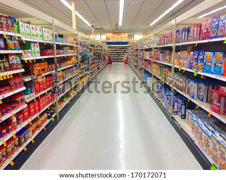 SPRINGFIELD, OR - DECEMBER 27: Grocery aisle at Fred Meyer in Springfield, OR on December 27, 2013. - stock photo