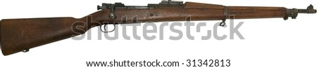 springfield rifle from early 1900's isolated on white - stock photo