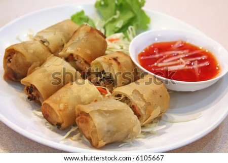 Springrolls traditional fried appetizer chinese cuisine - stock photo