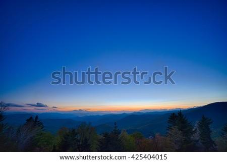 Springtime at Scenic Blue Ridge Parkway Appalachians Smoky Mountains  - stock photo