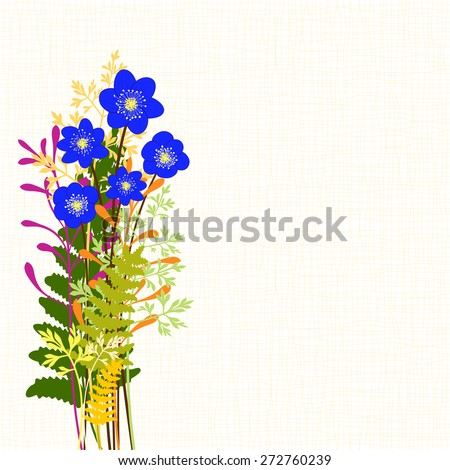 Springtime Blue Hepatica Nobilis with Colorful Wild Grass Background - stock photo