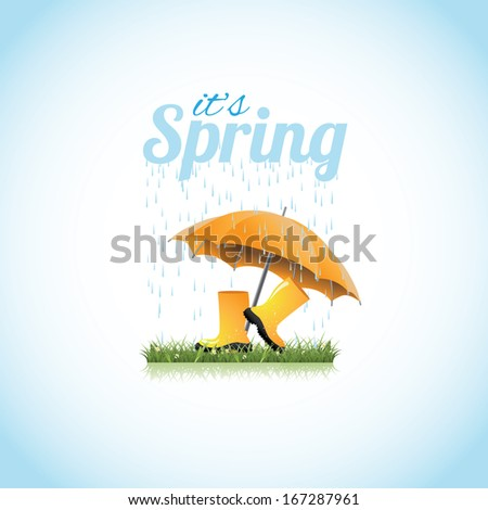Springtime boots and umbrella. jpg. - stock photo