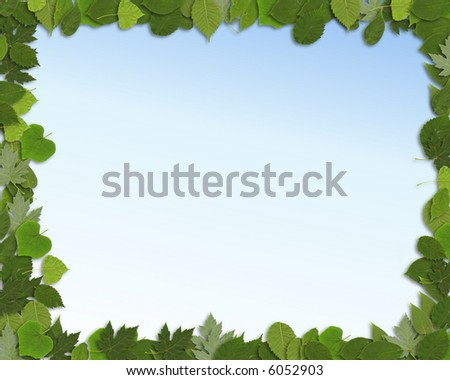 Springtime border of green leaves against a gradated sky blue background.
