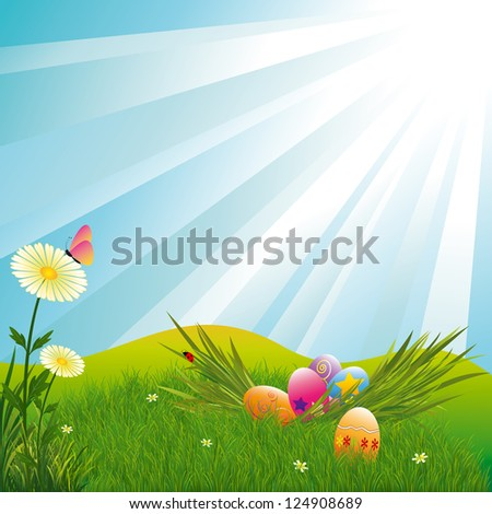 Springtime Easter holiday illustration colorful daisy and colorful easter egg