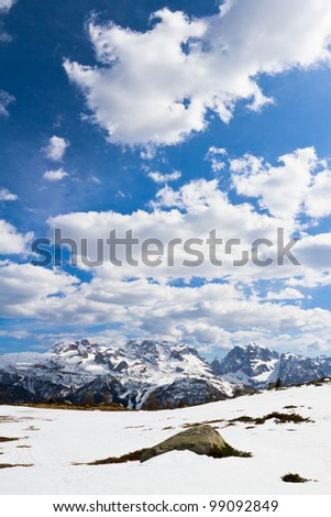 Springtime in Dolomites mountain, Italian Alps (unesco natural world heritage in Italy)