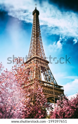 Springtime in Paris. Eiffel tower (toned image)  - stock photo