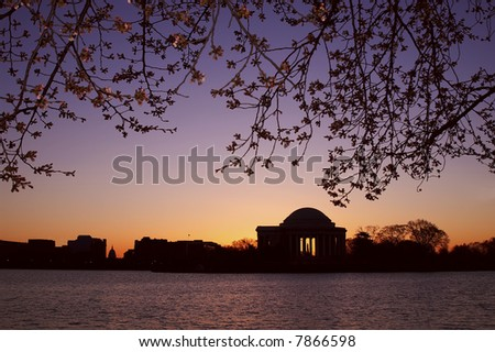 Springtime Jefferson Memorial at Sunrise Horizontal - stock photo