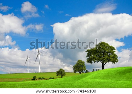Springtime landscape - stock photo