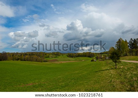 Springtime landscape in latvian countryside. Latvia. Baltic states.
