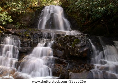 Springtime Laurel Falls, Great Smoky Mountains National Park Horizontal - stock photo
