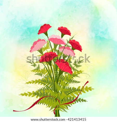 Springtime Red Carnation Flower Background - stock photo