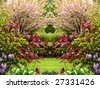 Springtime secret garden composite. - stock photo