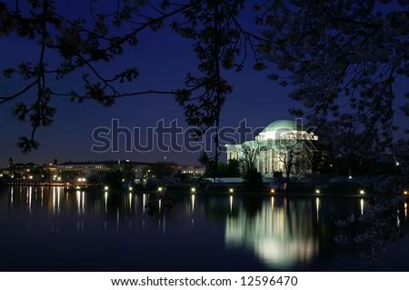 Springtime Thomas Jefferson Memorial, Washington DC, At Night Horizontal - stock photo