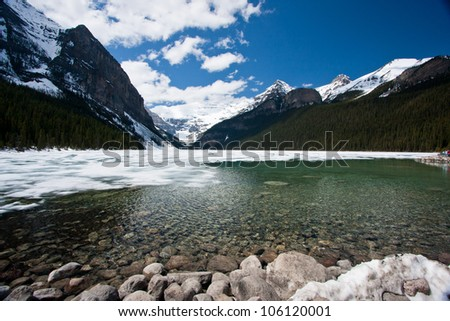 Springtime view across Lake Louise in the Canadian Rocky Mountains.