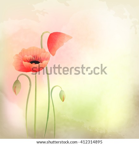 Springtime Watercolor Poppy Flower Background - stock photo