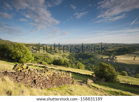 springtime yorkshire valley - stock photo