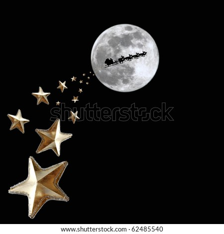 sprinkle of stars over the path of Santa Claus reindeer sleigh across a full moon Christmas night. - stock photo