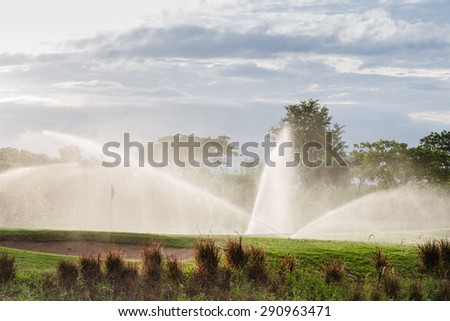 Sprinkler head in the golf clubs   - stock photo