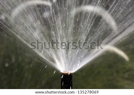 sprinkler head watering the flowers and grass - stock photo