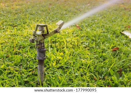 sprinkler head watering the flowers and grass