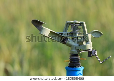 sprinkler head watering the flowers ,close-Up - stock photo