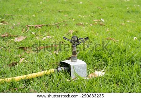 Sprinkler hose - stock photo